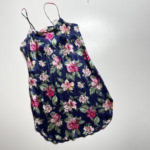 Silk Floral Aloha Print Nightie Slip Dress Large